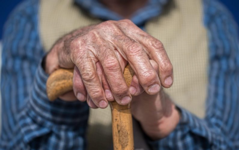 Old Man Hands with cane